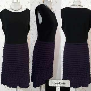 BEBE FITTED DRESS W/THIN RUFFLED DETAILS