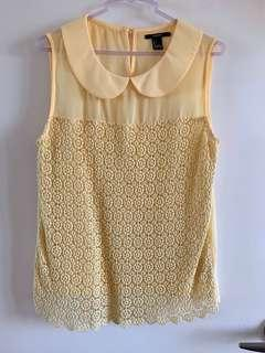FOREVER 21 Yellow Collared Sleeveless Blouse