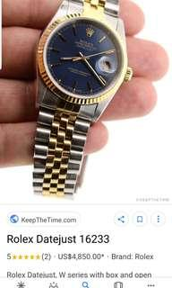 Rolex Datejust 16233 Duo colour tone ( silver and 18k plated)