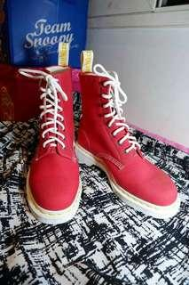 Dr. Martens Red Canvas Boots