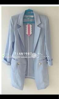 🚚 粉藍西裝外套(七分袖夏天)