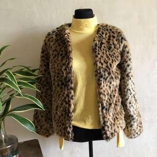Fur animal print coat