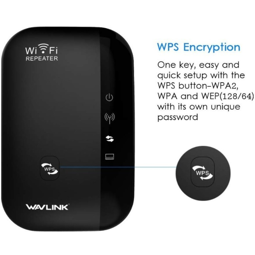-1203-Wavlink 300Mbps Wifi Range Extender/Access Point with 3dBi Internal  Antennas Smart Wi-Fi App Enabled to Control Your Network from Anywhere WPS