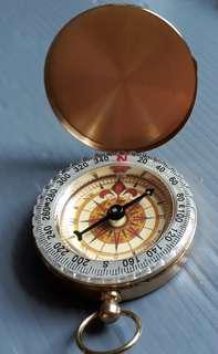 Antique Finish Brass Compass With Lid - Old Vintage Pocket Style - Nautical Marine