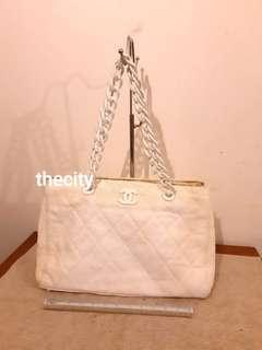 AUTHENTIC CHANEL LARGE CHAIN SHOULDER BAG - CANVAS - HOLOGRAM STICKER INTACT- CC LOGO INTERIOR - OVERALL GOOD - (CHANEL CHAIN SHOULDER BAGS NOW RETAIL OVER RM 15,000+) - RM 999 ONLY