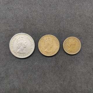 香港50-60年代英女皇頭硬幣50¢,10¢,5¢ 各一個,共3個 (包郵)