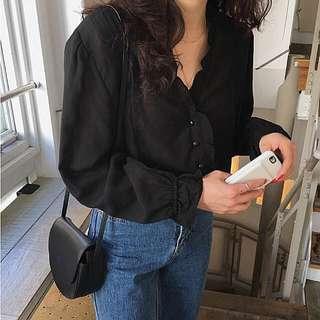 韓國 荷葉邊復古長袖 春裝新款 #半價衣服市集