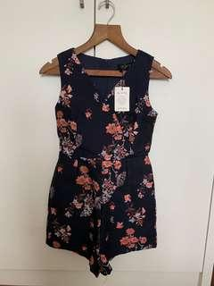 Ninthcollective Rei Blossoms Romper in Navy Blue