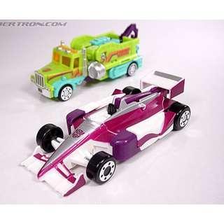 Rare Vintage Transformers 2000 Takara TF2000  Flipchangers C-016 Indy Heat & C-017 Wrecker Hook - MOC C9.9