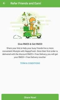 RM25 OFF for Happy Fresh App
