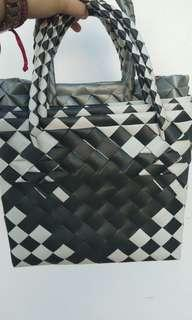 Woven Bayong Black and White Pattern