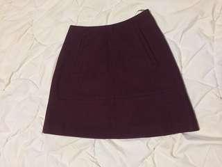 RODEO SHOW Burgundy A-line miniskirt | size 6-8 | cashmere and virgin wool blend, as new