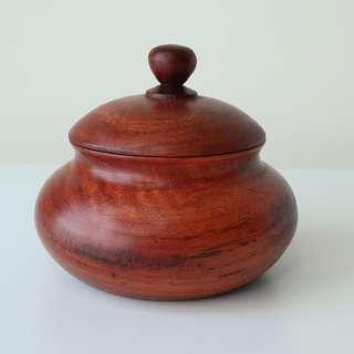 Handmade solid wood mini pot / container with lid from Burma Myanmar