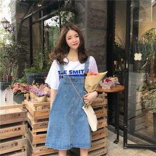 Women Denim Mini Suspender Dress