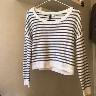 H&M stripy crop sweater