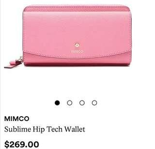 Mimco pink sublime hip tech wallet with strap