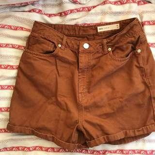 ASOS Brown high waisted shorts