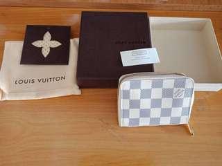 全新正品LV Louis Vuitton 白色棋盤格紋零錢包短夾