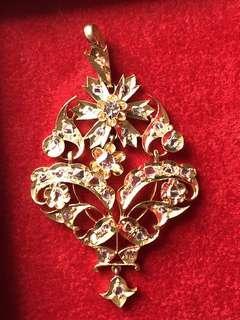 Sale 30% Antique Beautiful Peranakan Intan Diamonds Gold Pendent