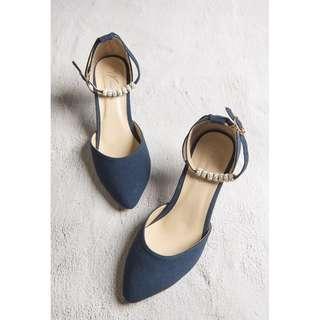 🚚 【TKRY二手高跟鞋】客人寄賣38號 寶藍色繫帶高跟鞋3公分