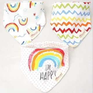 🚚 BB060E Mom's Care Set of 3 Baby Bandana Bibs - Rainbow