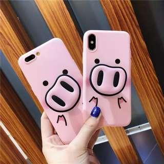 CASE iPhone pig babi dg pop socket standing silicone casing