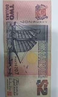 Old Singapore  SGD2 note