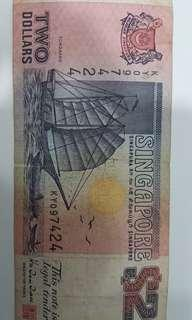Old Singapore SGD 2 note