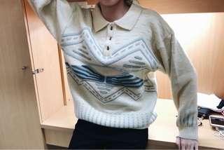 🚚 (二手) 古著 白 針織 毛衣