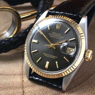 OHPC- 36mm Rolex Datejust 1601 in Warm Dark Grey Sunburst