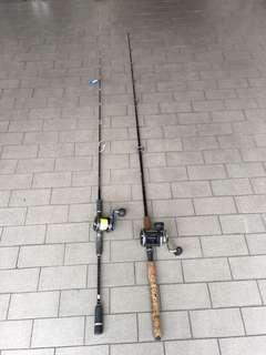 Used fishing Rod and fishing Drum