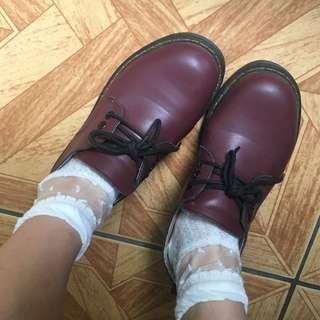 🚚 原宿系日系酒紅可愛皮鞋