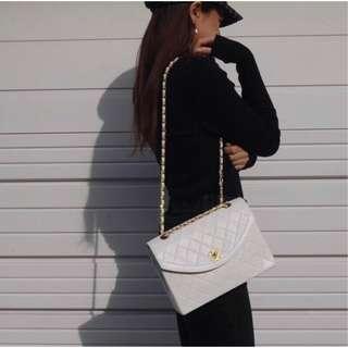 真品Chanel古董包白色雙鍊格菱雙鍊包/Vintage Coco Chanel double chain bag/boy Chanel woc可參考