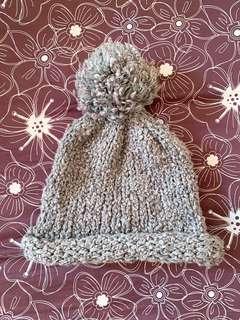 🚚 灰色大毛球毛帽