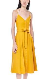 The editors market delfino midi dress in mustard yellow