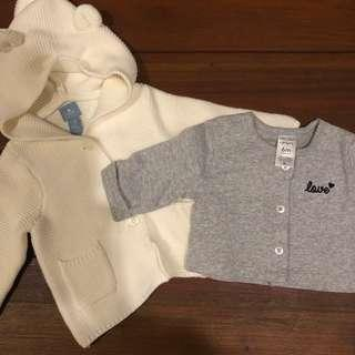 Baby Gap and Carters Hoodie and Cardigan 6m
