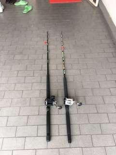 Used Powerful fishing rod and New FISHBYTE Drum