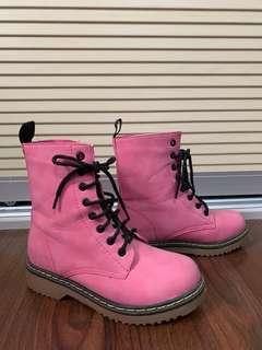 Pink combat boots