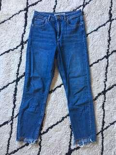 ASOS raw step hem blue jeans size 8