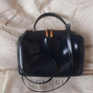gucci vintage bamboo zipper shoulder bag