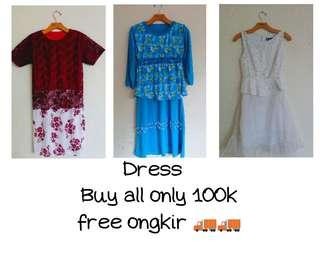 Dress brokat & Long dress biru