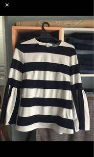 Poplook Navy Striped Blouse