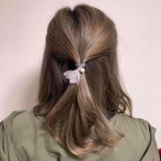 [包郵] 灰色簡約珠珠花瓣橡根 Flower Petals Hair Band with pearl 文青 去街 返工 約會