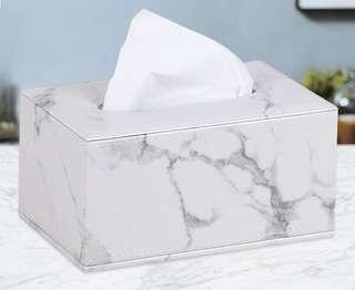 🚚 Restocking Faux Leather Marble Print Tissue Box Holder