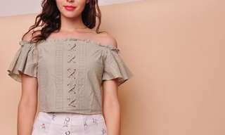 Purpur off shoulder lace eyelet top (MINT)