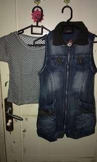 "Super sale Set jaket jeans dan kaos"" Free Ong Jabodetabek""!"