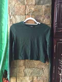 F21 Green Longsleeves Crop Top