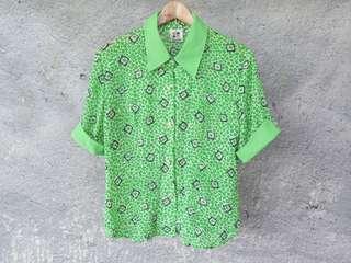 🚚 花朵草綠古著襯衫