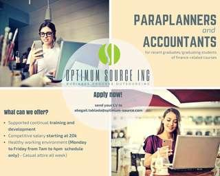 Looking for Accounting/Finance fresh graduates for Paraplanner position