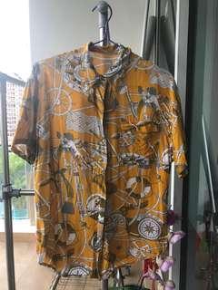 Thrifted unisex oversized bright yellow Hawaiian-esque shirt